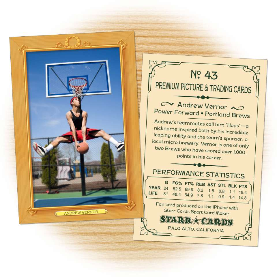 Basketball card template from Starr Cards Basketball Card Maker.